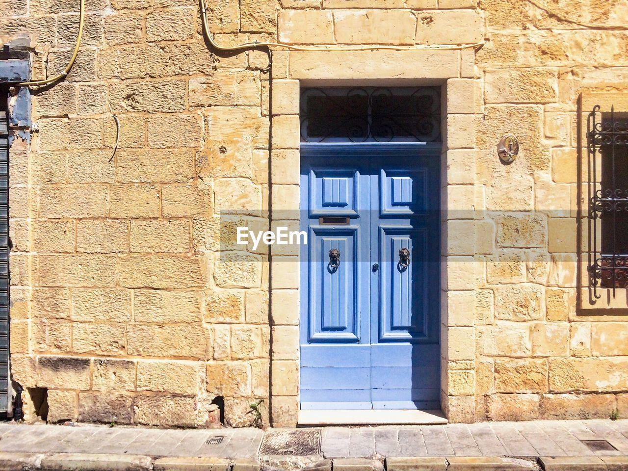 door, closed, architecture, entrance, building exterior, window, built structure, outdoors, no people, day, open door