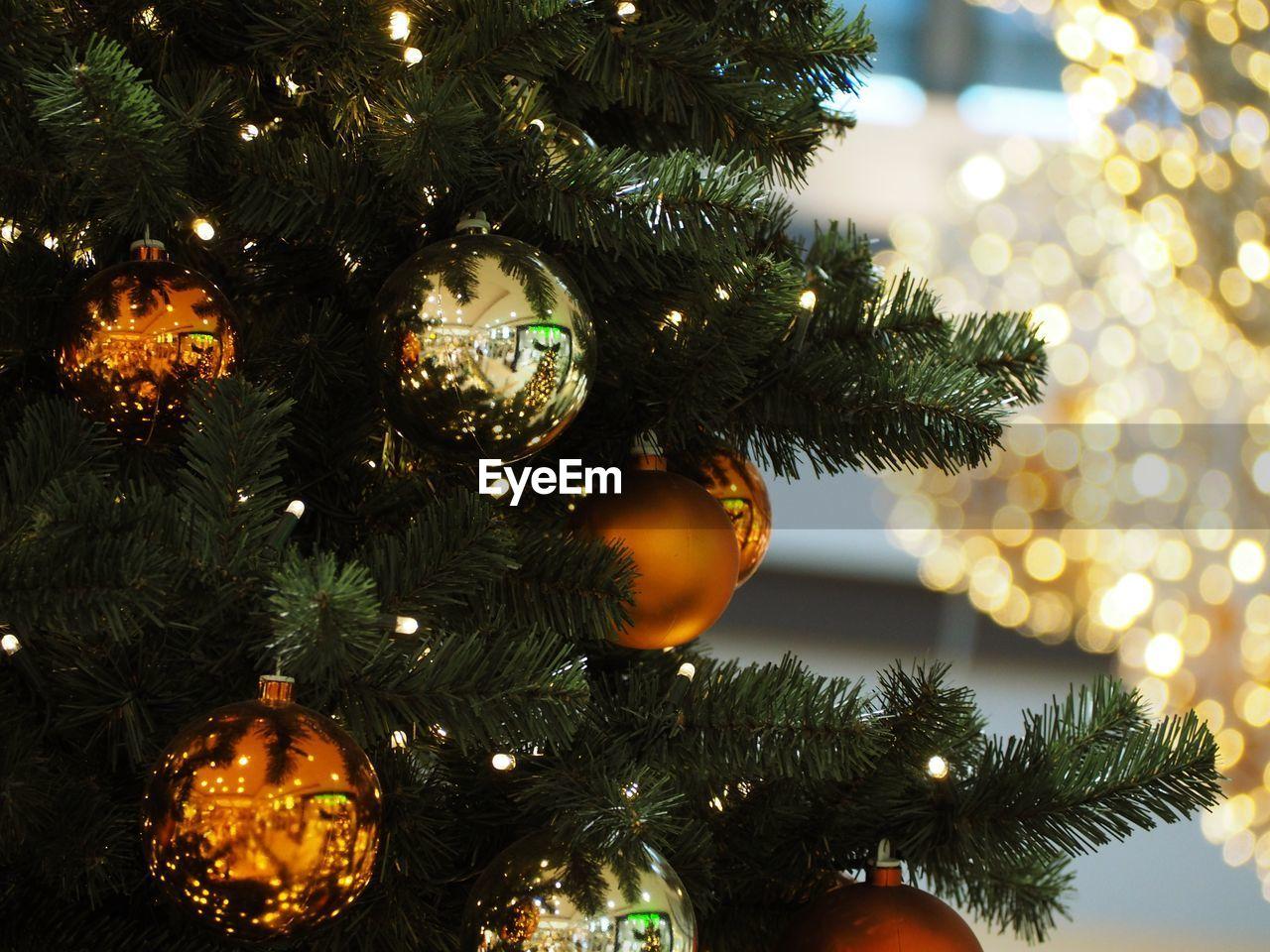 christmas, holiday, celebration, christmas tree, decoration, christmas decoration, tree, christmas ornament, illuminated, christmas lights, indoors, holiday - event, celebration event, close-up, no people, hanging, trip, vacations, light
