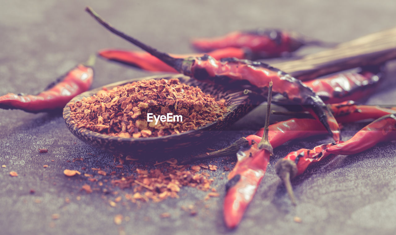 CLOSE-UP OF CHILI PEPPERS IN CONTAINER ON BARBECUE GRILL