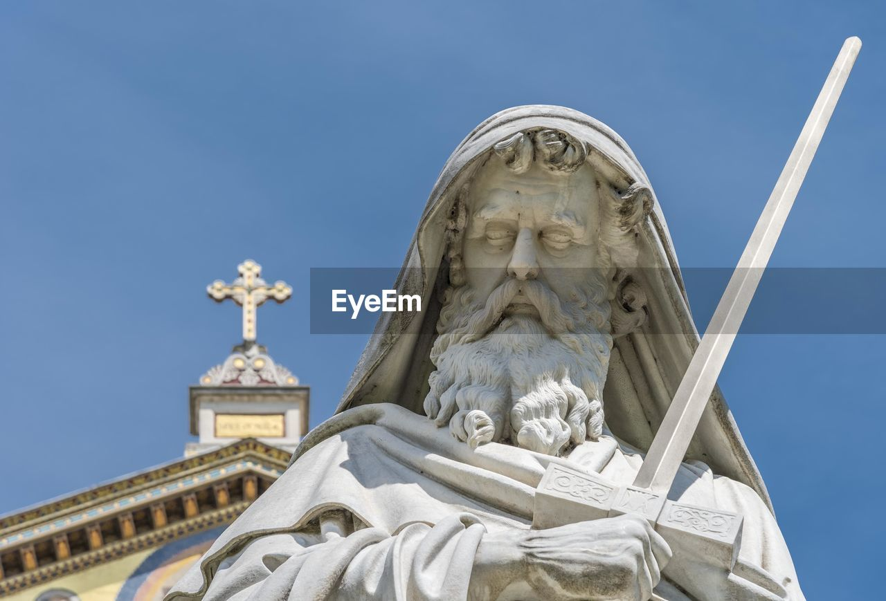 Male Statue Against Basilica Of Saint Paul Outside The Walls