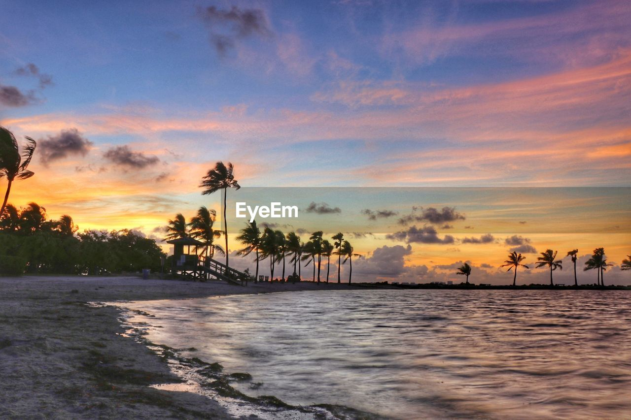 sunset, sea, sky, water, tree, beauty in nature, beach, nature, scenics, palm tree, cloud - sky, outdoors, no people, horizon over water, day