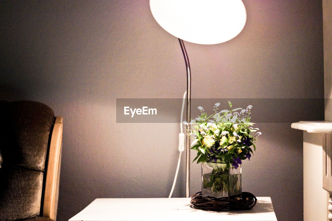 Flower Vase By Illuminated Electric Lamp At Home