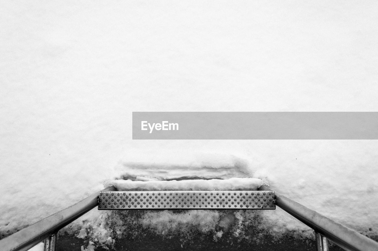 Close-up view of steps covered in snow