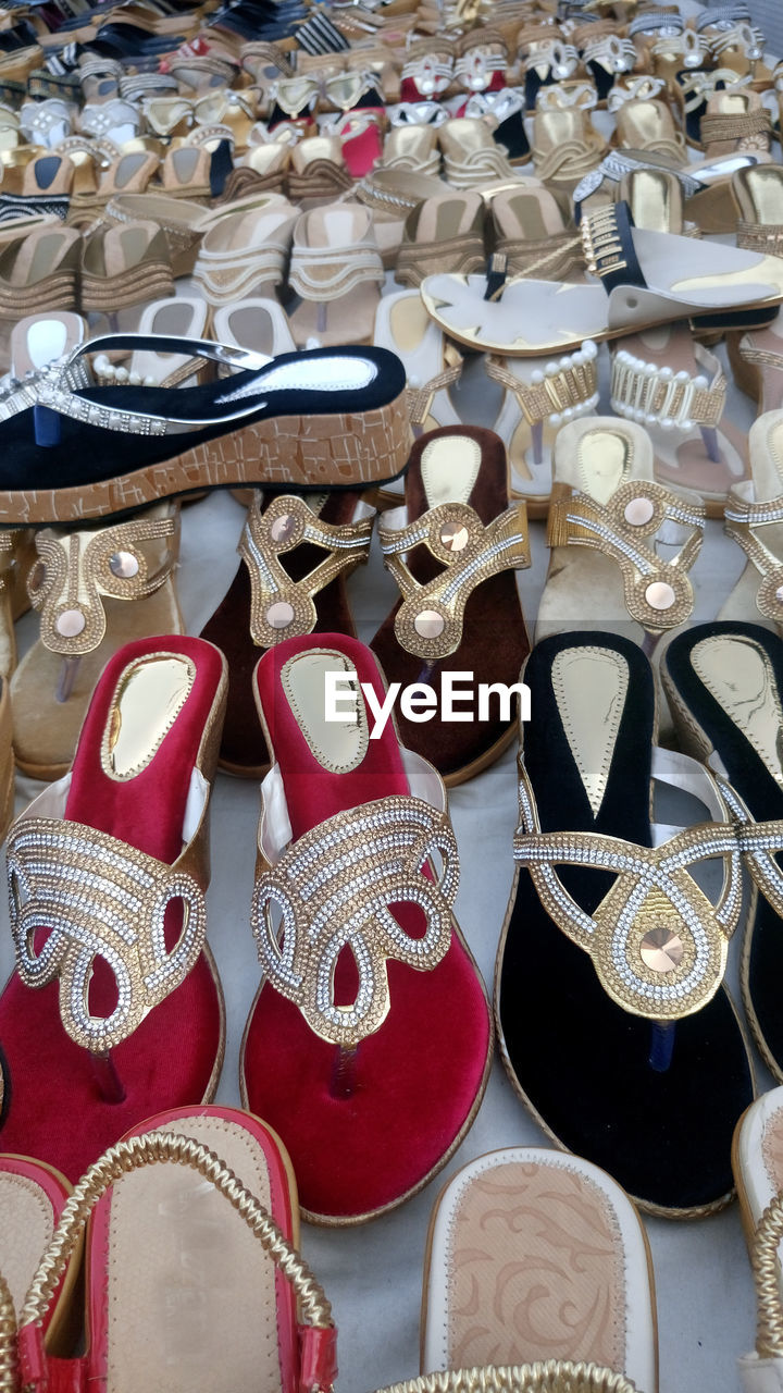 Sandals Displayed For Sale In Shop