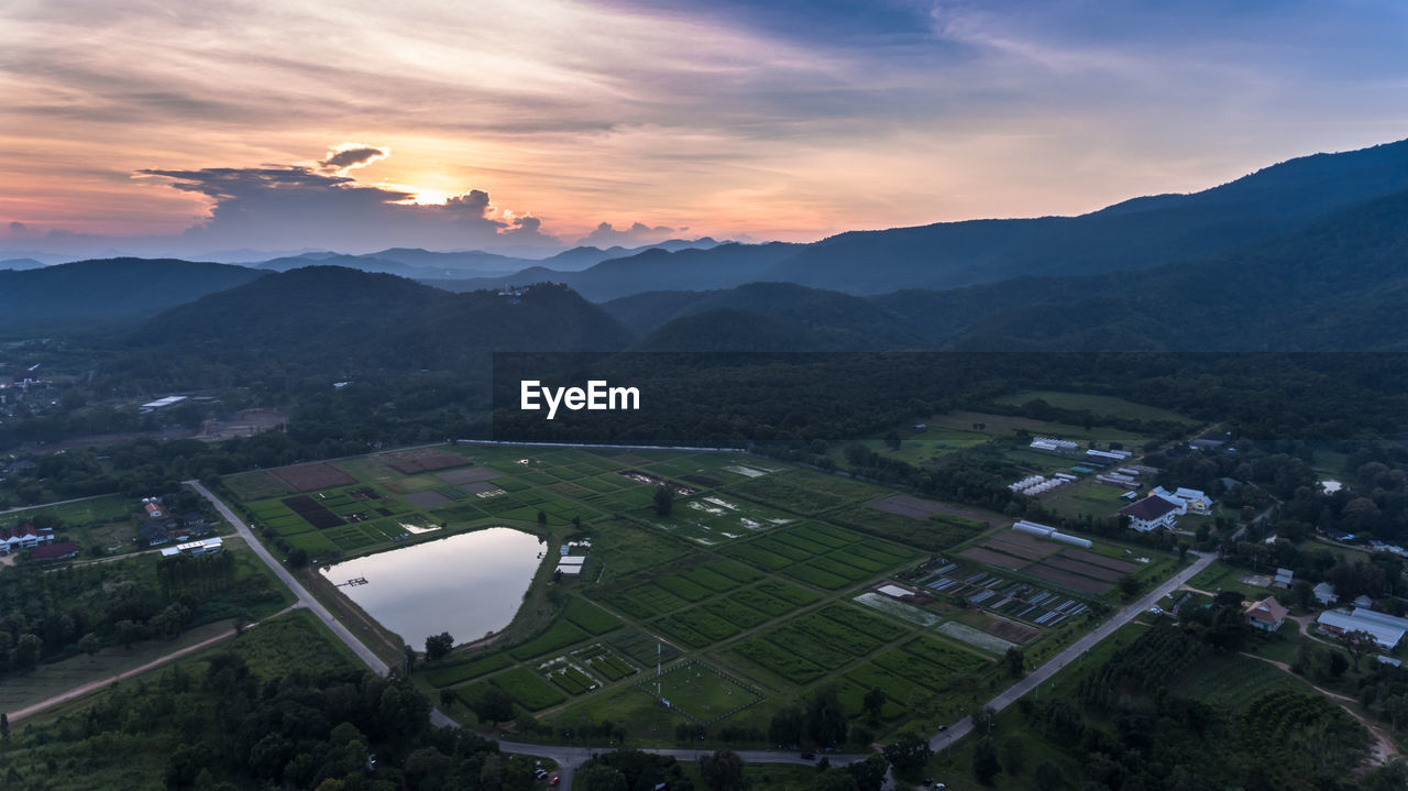 Aerial View Of Agricultural Field Against Sky At Night