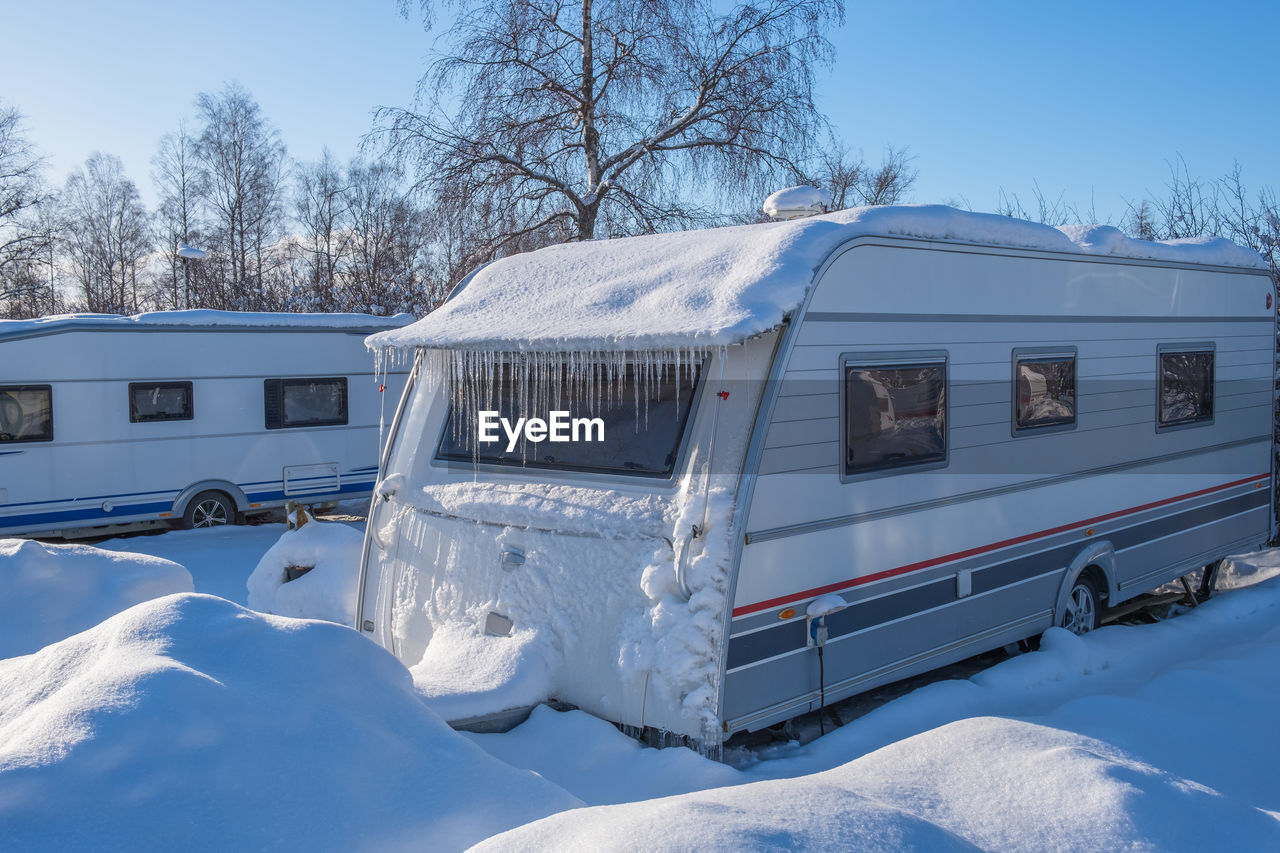 Winter camping with a caravan