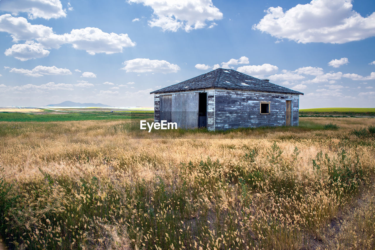 built structure, architecture, building exterior, field, sky, land, cloud - sky, grass, building, landscape, house, nature, plant, abandoned, rural scene, environment, agricultural building, day, farm, no people, outdoors, ruined