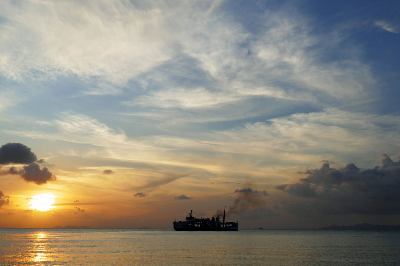 sky, cloud - sky, water, sunset, sea, transportation, nautical vessel, beauty in nature, oil industry, nature, waterfront, scenics - nature, industry, offshore platform, silhouette, no people, business, mode of transportation, orange color, outdoors