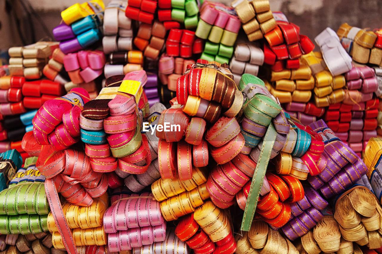 Detail Shot Of Multi Colored Ribbons