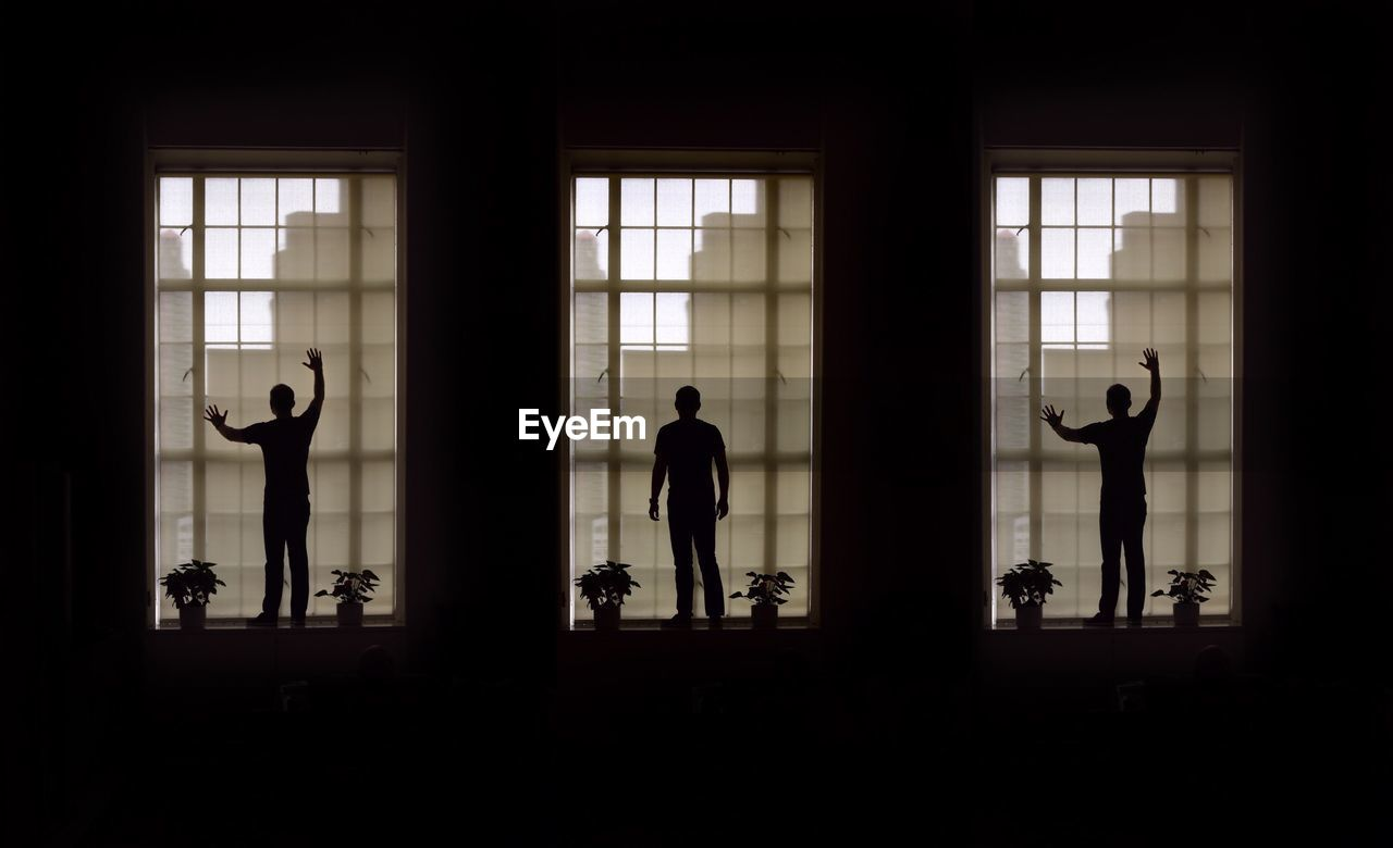 Multiple Image Of Silhouette Man Standing On Window Sill