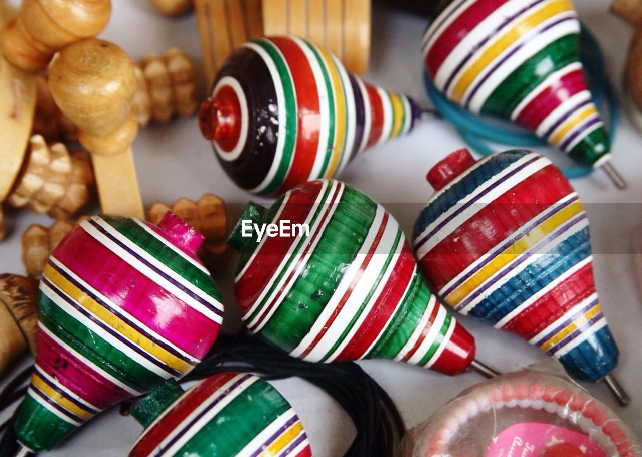 Detail shot of colorful spinning tops