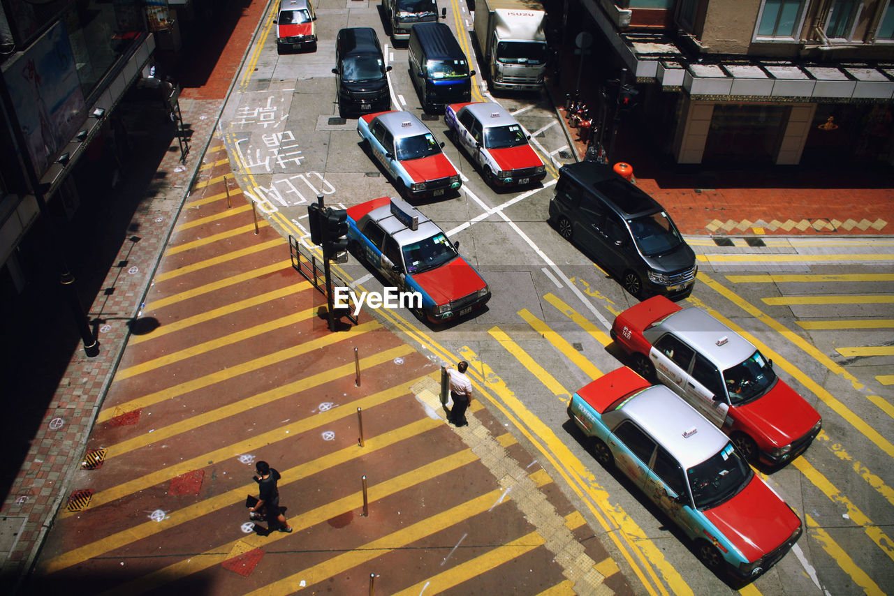 Elevated view of cars in street
