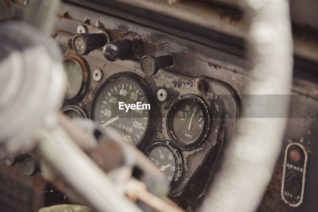 Control Control Panel Dashboard Old Car Scrapped Car Selective Focus Tachometer Technology