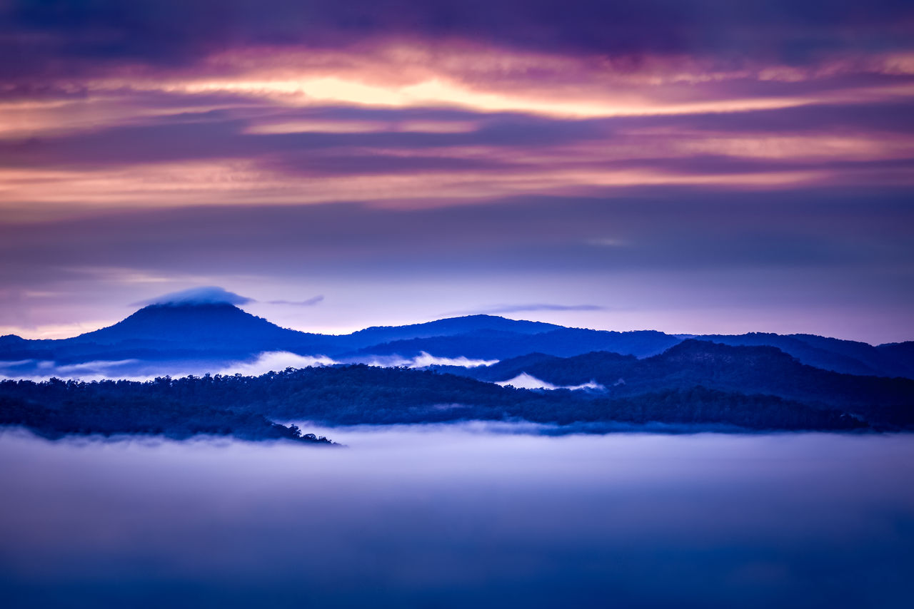 scenics - nature, beauty in nature, sky, cloud - sky, tranquil scene, mountain, tranquility, sunset, mountain range, idyllic, nature, environment, non-urban scene, no people, landscape, majestic, remote, outdoors, cold temperature, mountain peak