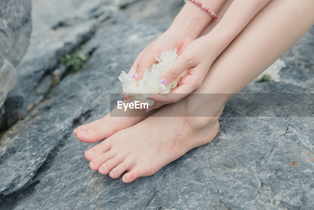 LOW SECTION OF PERSON HOLDING HAND ON ROCK AT FLOWER