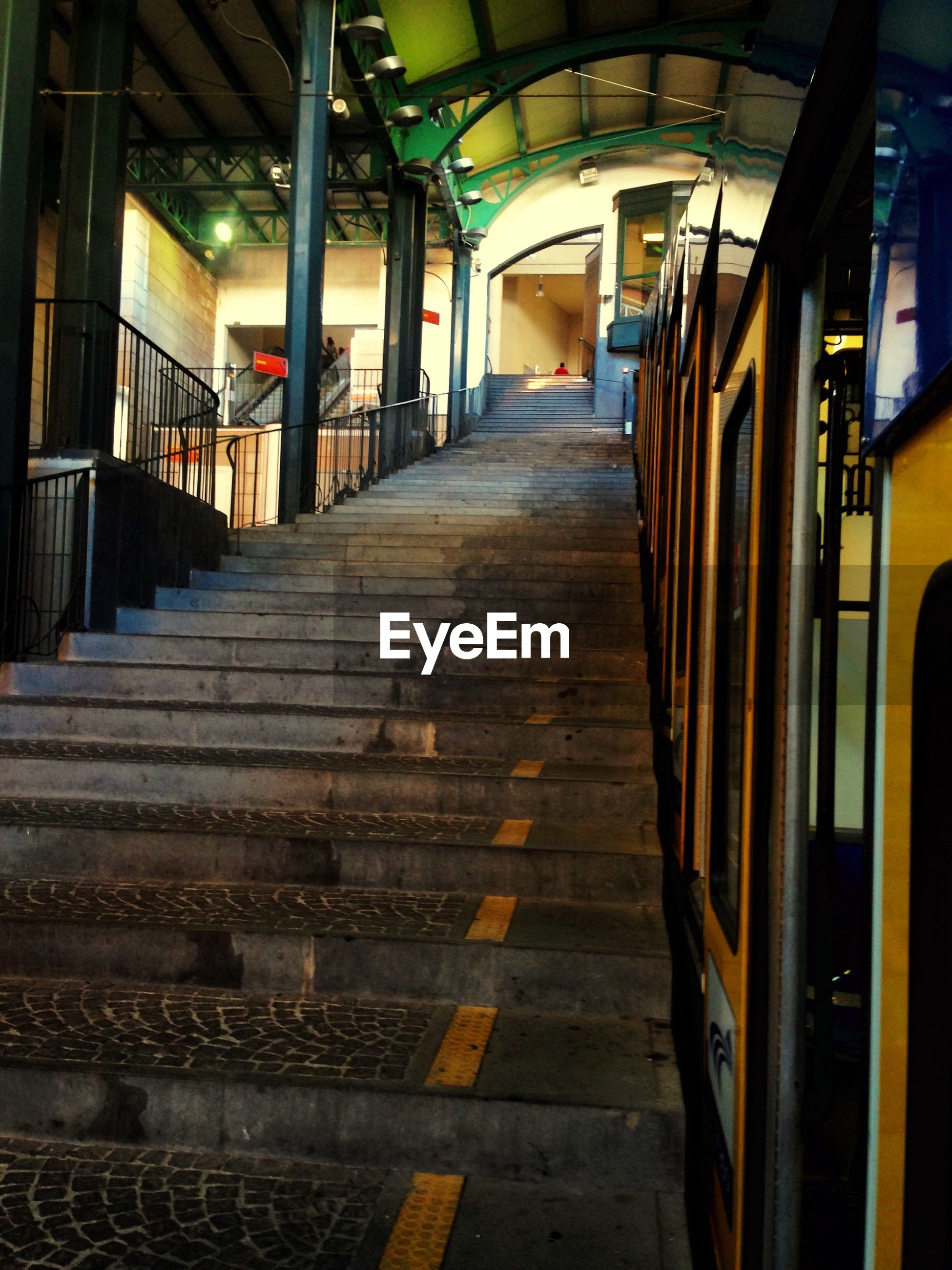 Low angle view of staircase in railroad station