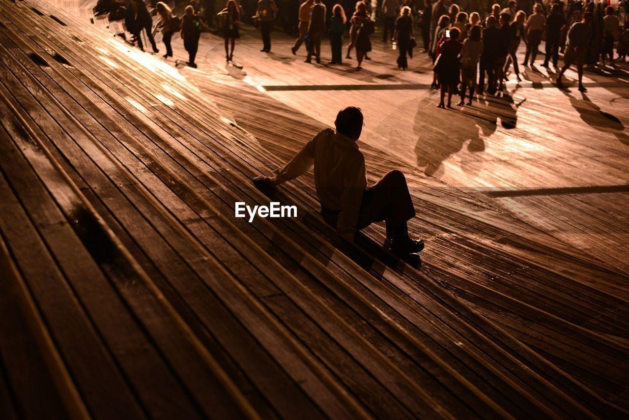 High angle view of people at osanbashi pier