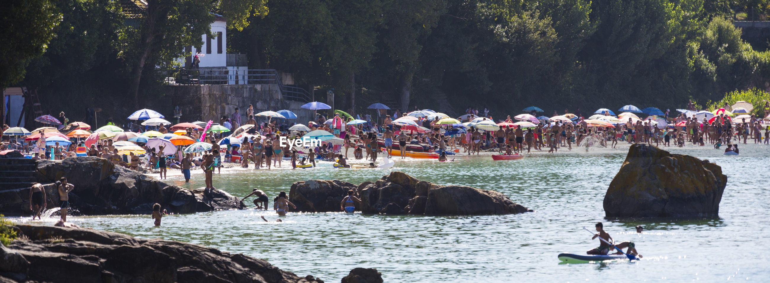 People at beach against trees