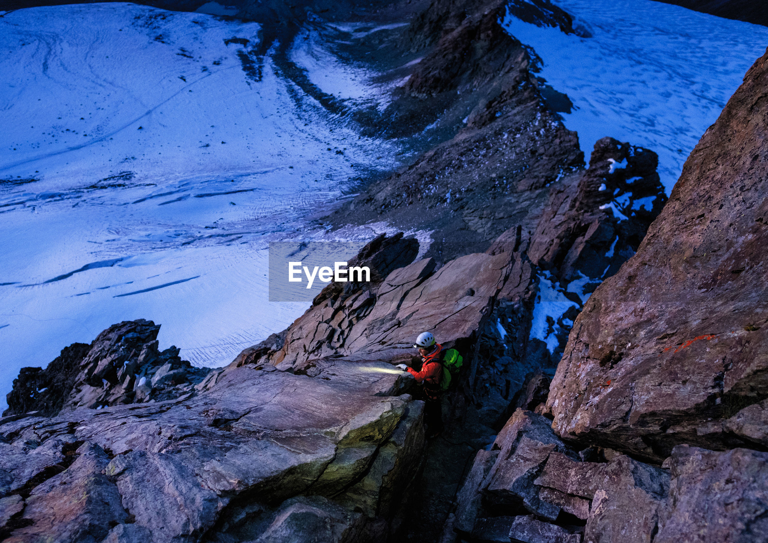 High angle view of person flashlight while standing at grossglockner