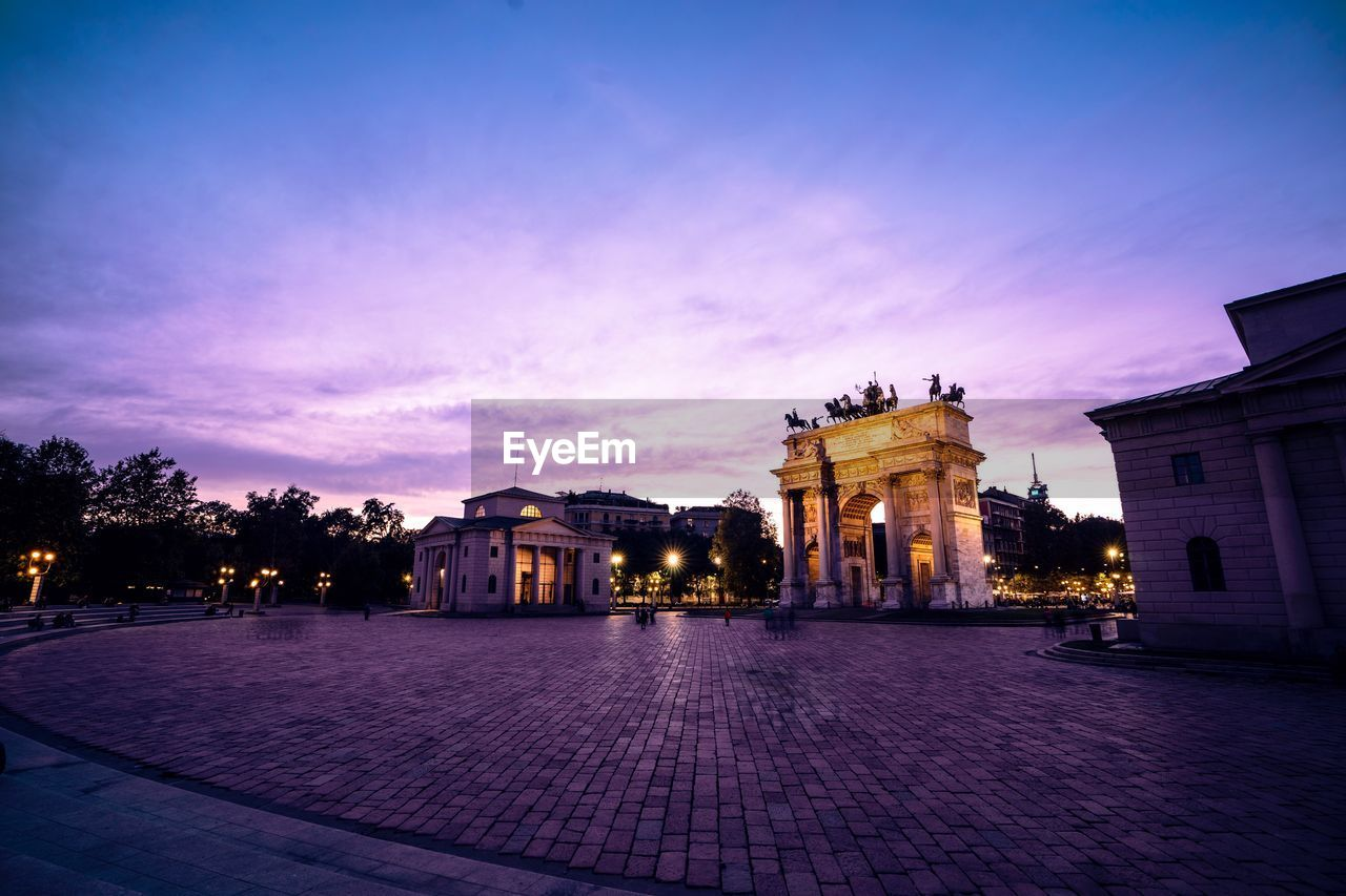 architecture, sky, building exterior, built structure, illuminated, dusk, city, cloud - sky, history, sunset, the past, travel destinations, street, building, travel, nature, tourism, night, no people, outdoors, purple