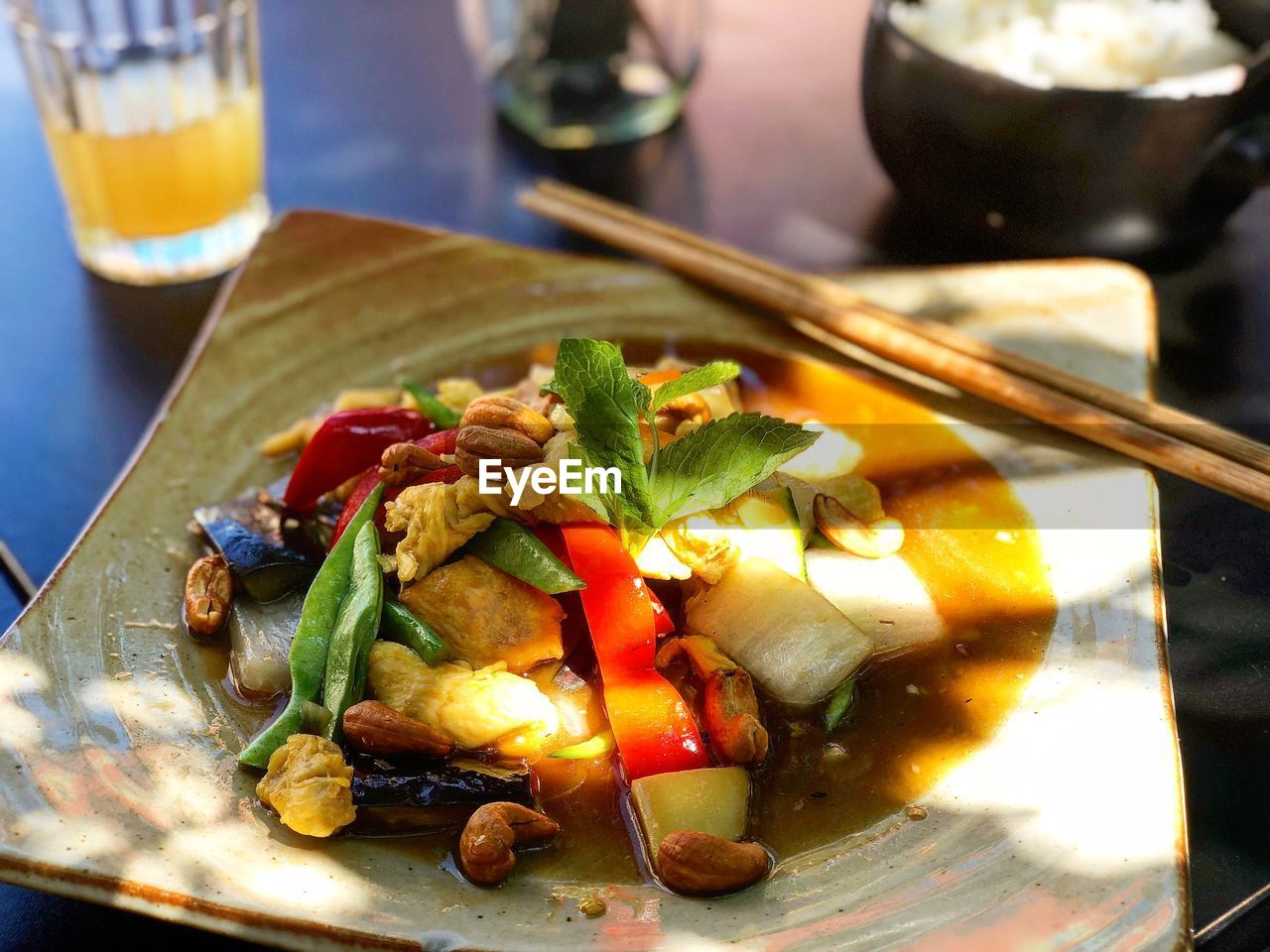 food and drink, food, ready-to-eat, freshness, healthy eating, table, chopsticks, serving size, wellbeing, indoors, vegetable, no people, plate, close-up, still life, meat, meal, household equipment, bowl, high angle view, glass, dinner, japanese food