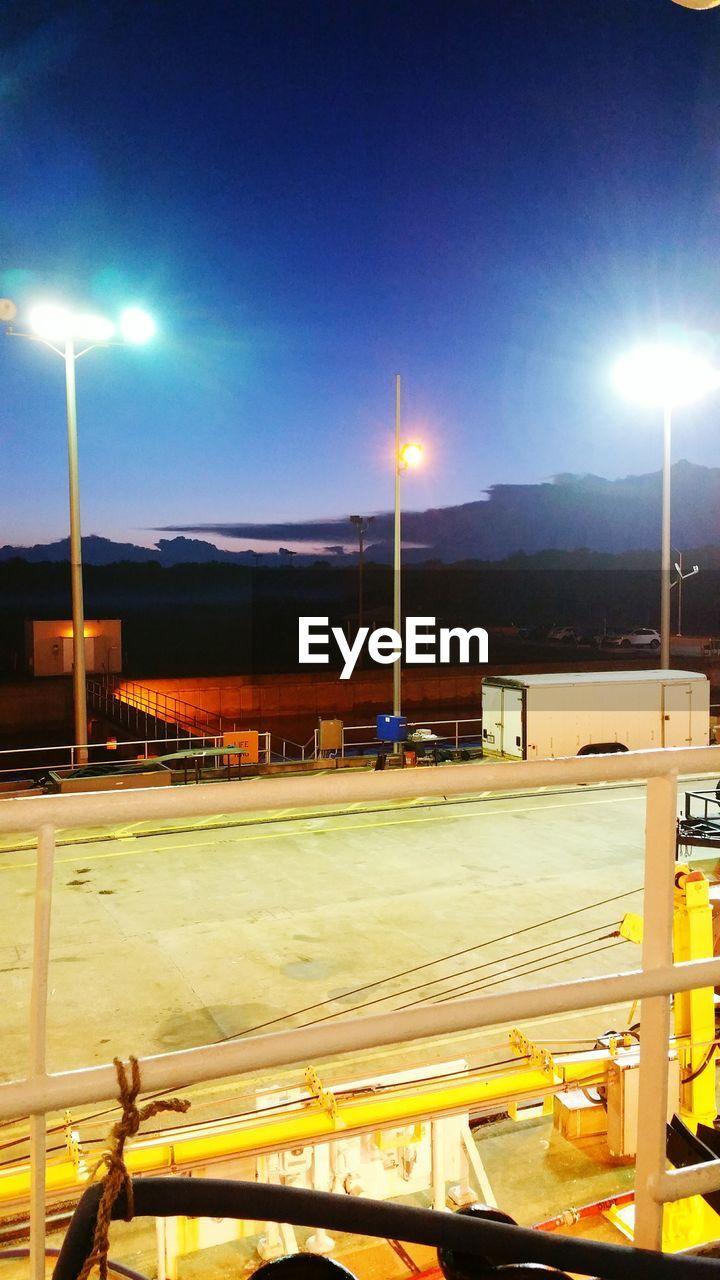 illuminated, night, transportation, sky, no people, street light, outdoors, architecture