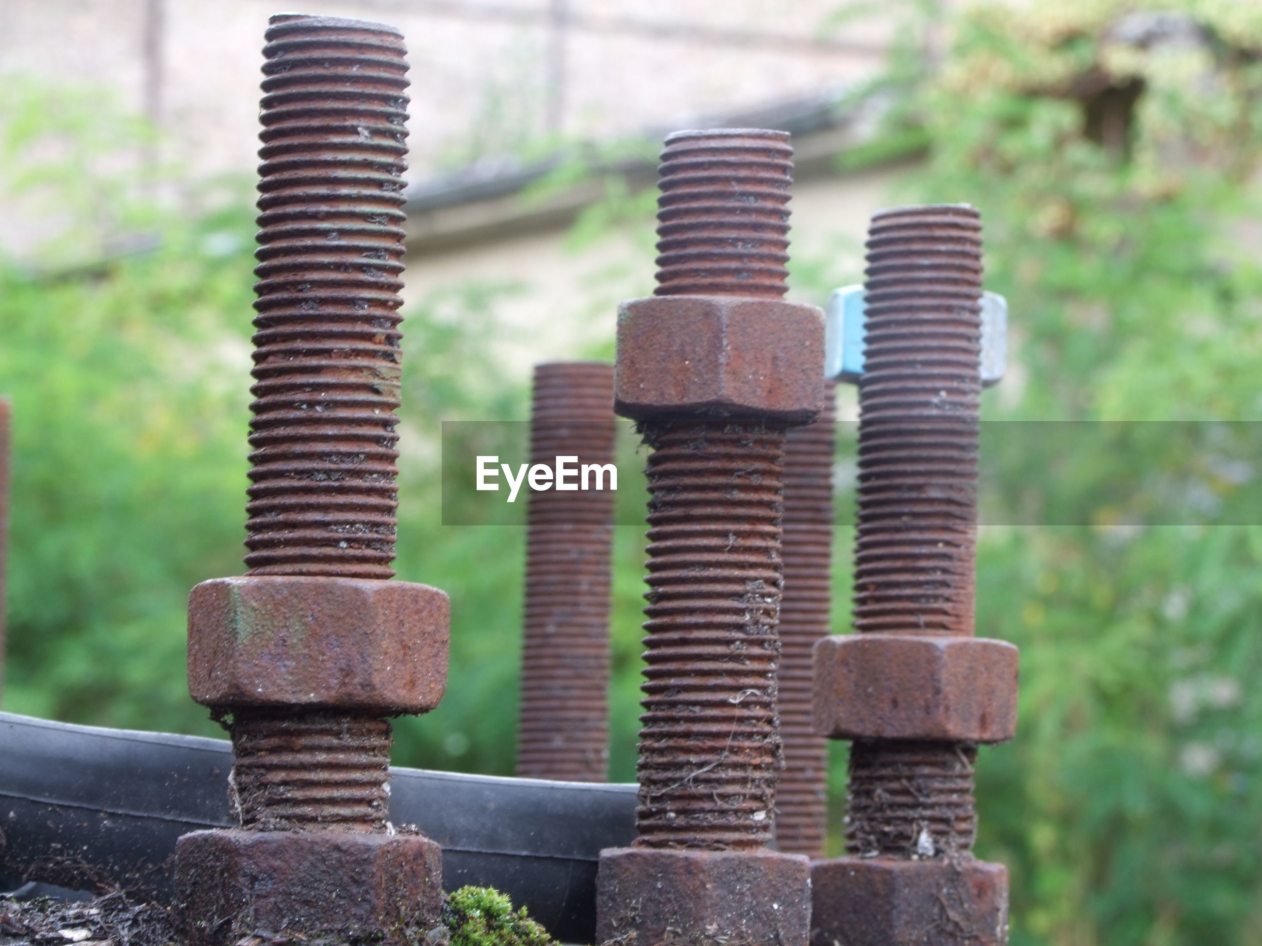 Close-up of abandoned rusty nut bolts