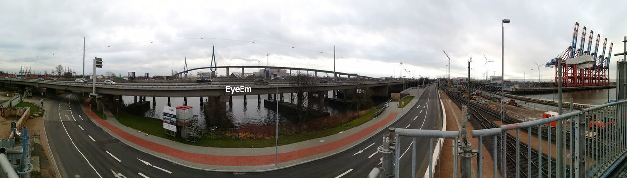 sky, transportation, cloud - sky, built structure, architecture, water, bridge - man made structure, railroad track, building exterior, no people, day, outdoors, panoramic, nautical vessel, nature