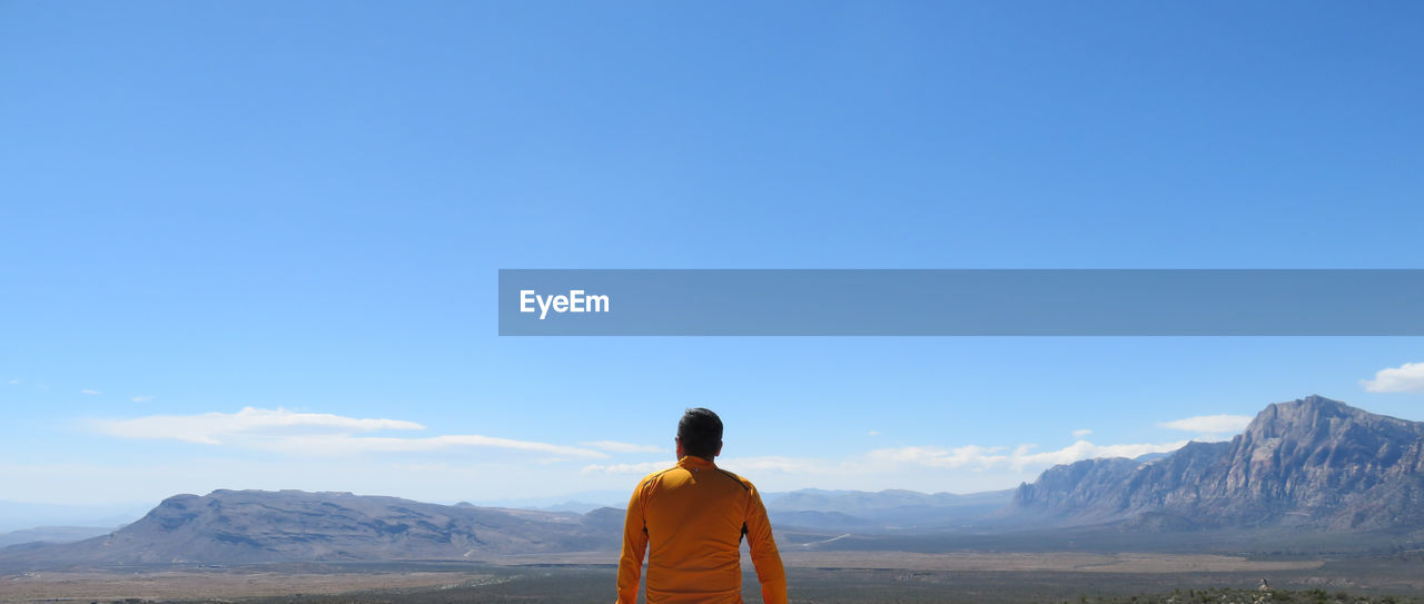 Rear view of man looking at mountains against blue sky