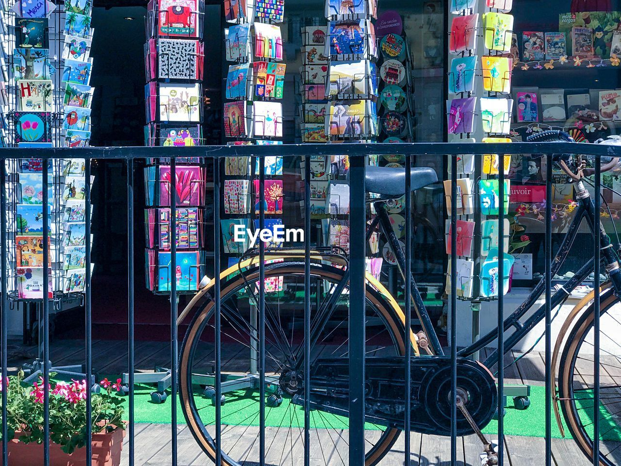 VIEW OF MULTI COLORED BICYCLES