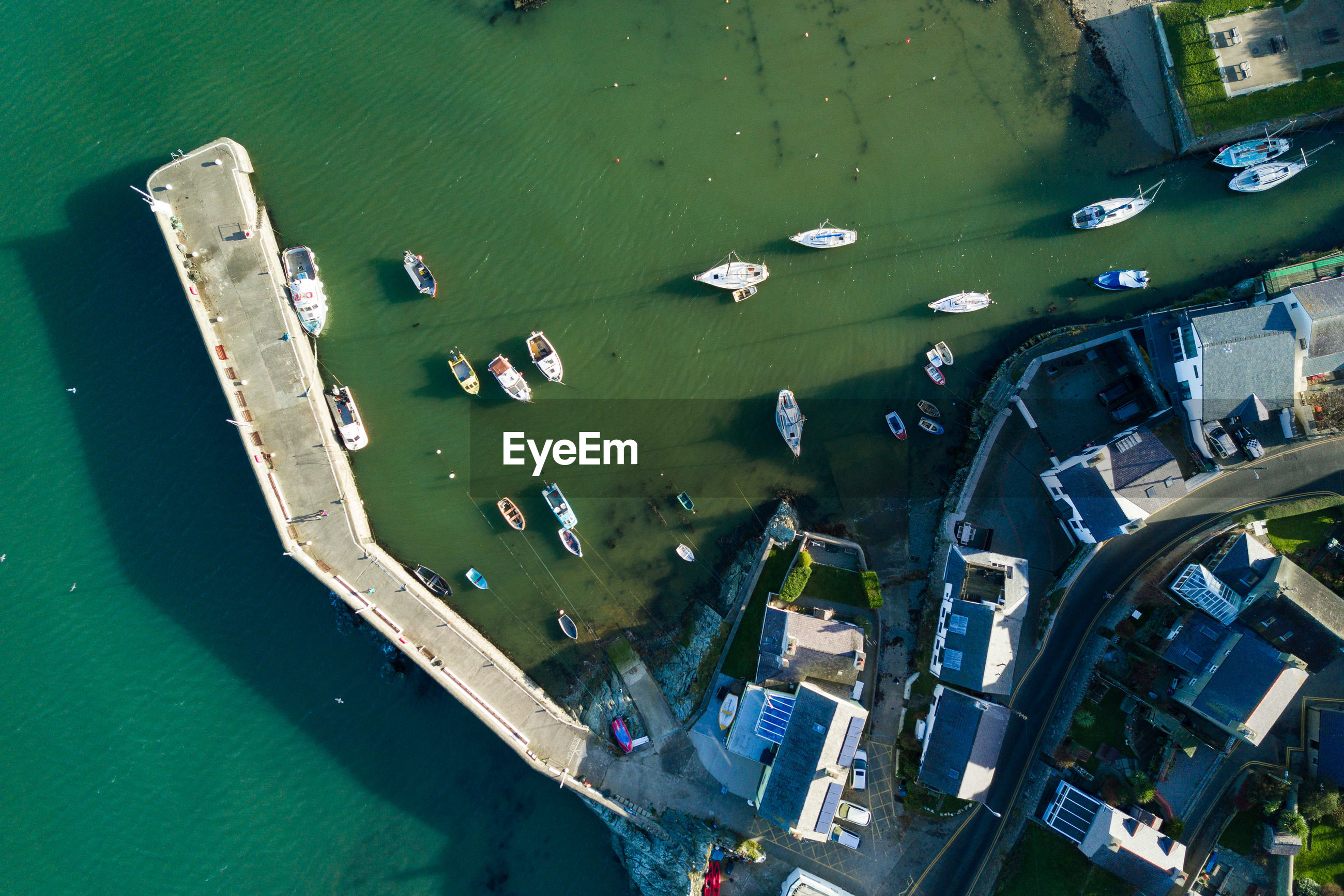 High angle view of boats in harbor