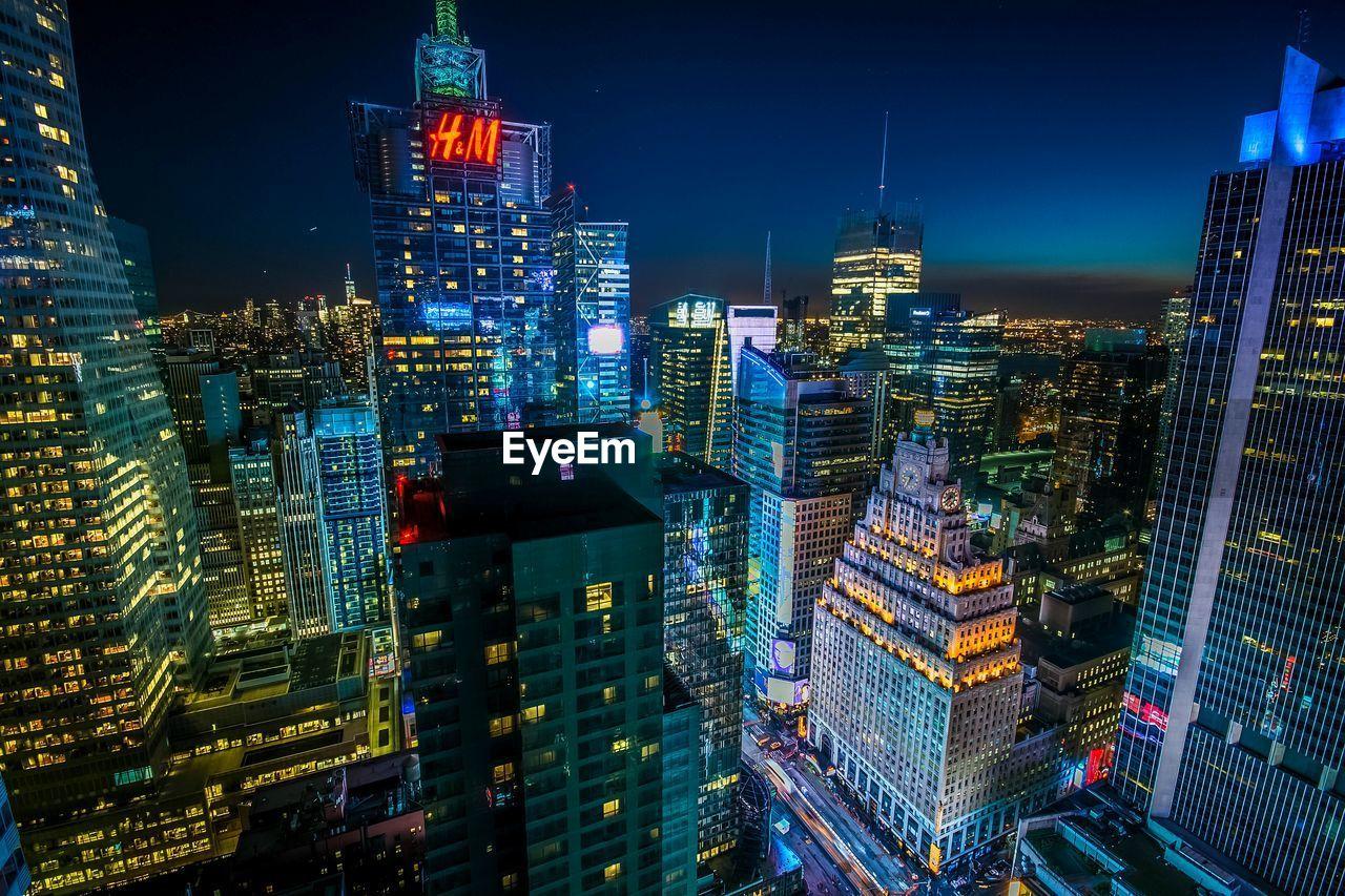 Illuminated Manhattan Against Sky At Night