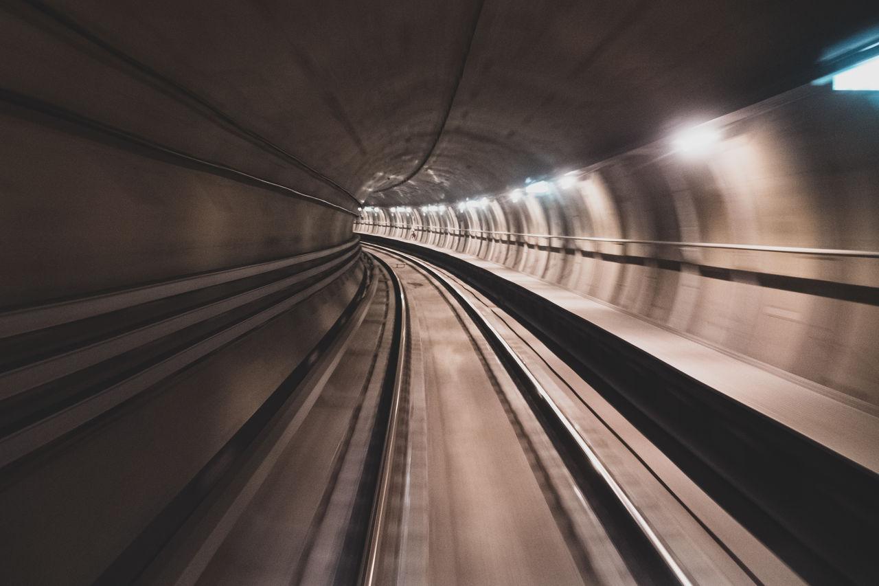 Subway tunnel in copenhagen, denmark
