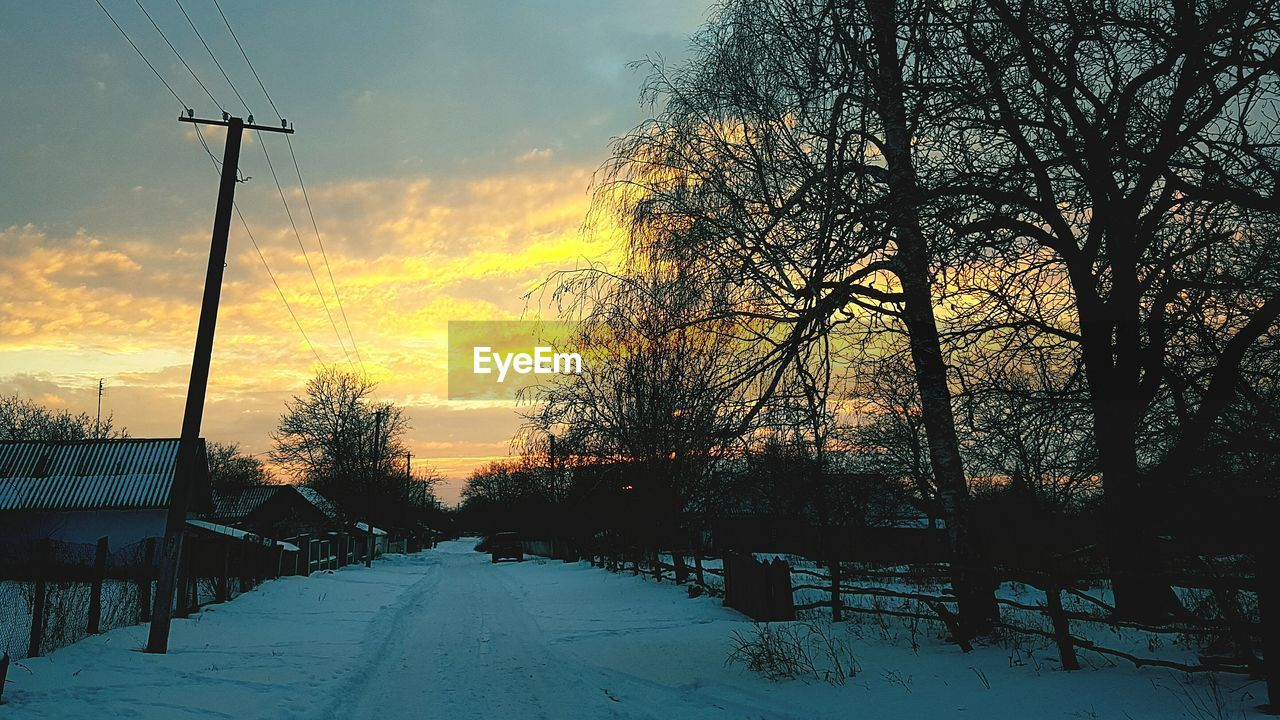 winter, cold temperature, snow, weather, nature, tree, sunset, beauty in nature, scenics, sky, outdoors, tranquil scene, no people, tranquility, bare tree, day