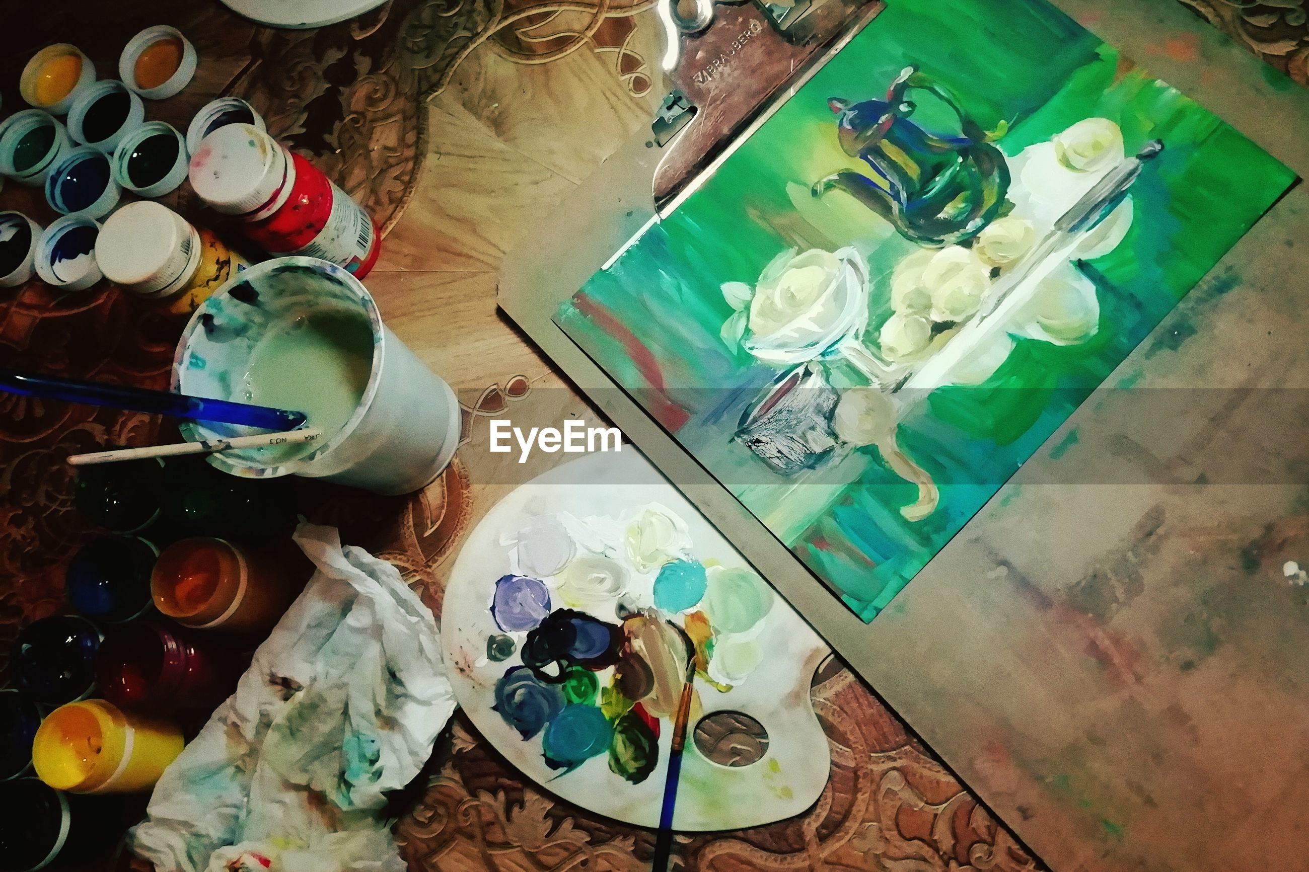 container, high angle view, indoors, choice, large group of objects, art and craft, table, variation, multi colored, no people, still life, bottle, paint, paintbrush, watercolor paints, brush, palette, messy, craft, abundance, art and craft equipment