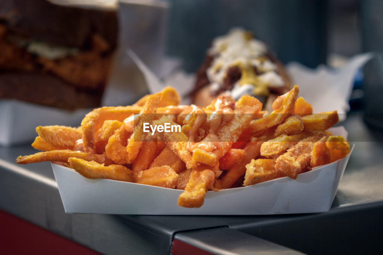 Close-Up Of Fries On Table