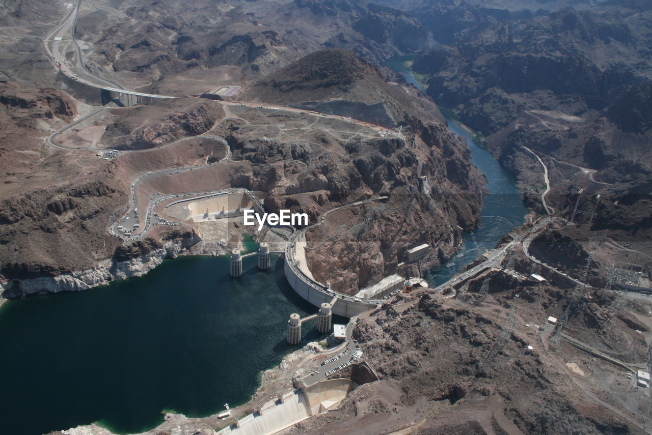HIGH ANGLE VIEW OF DAM AND RIVER