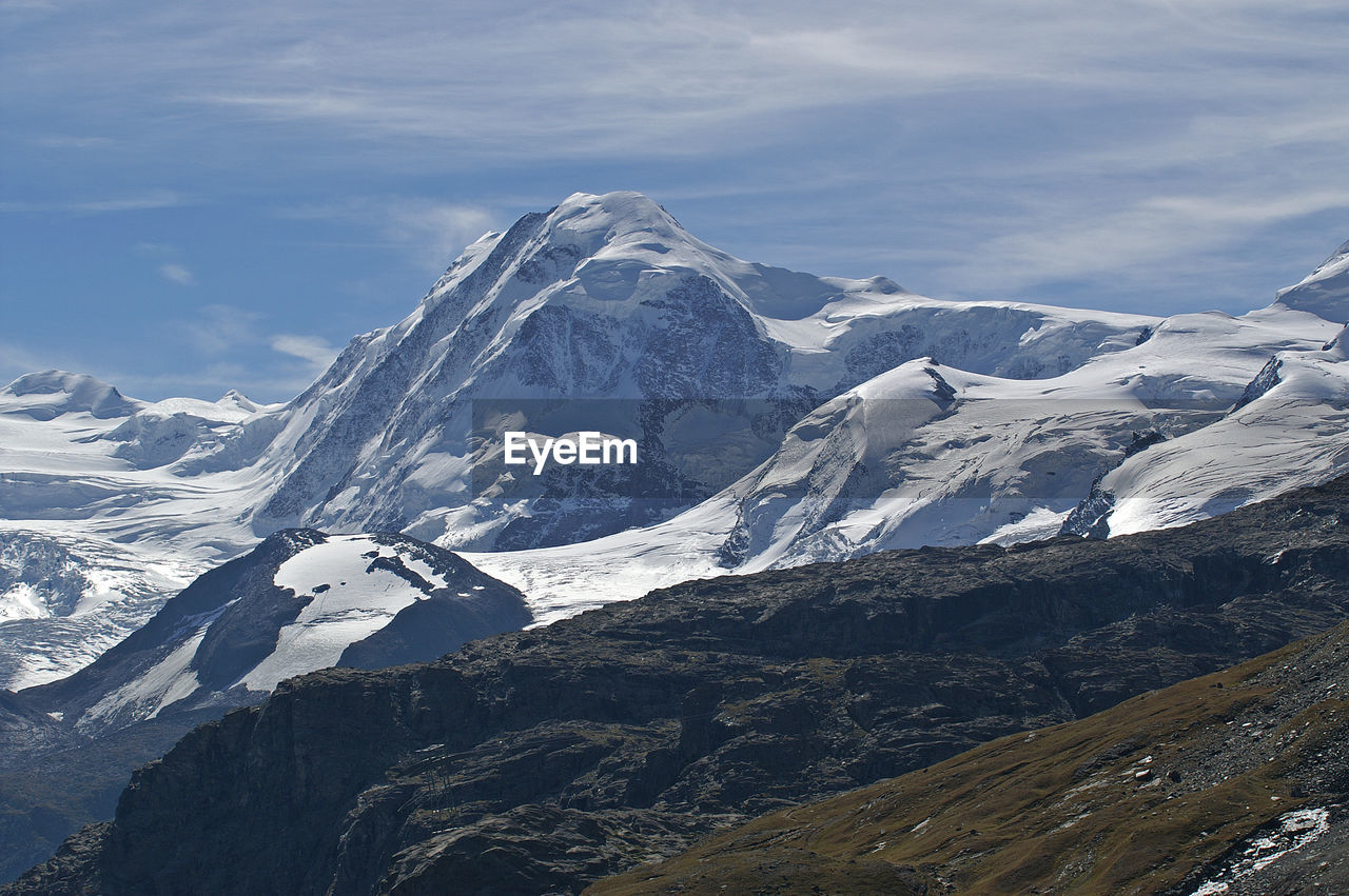 Scenic View Of Snowcapped Swiss Alps Against Sky