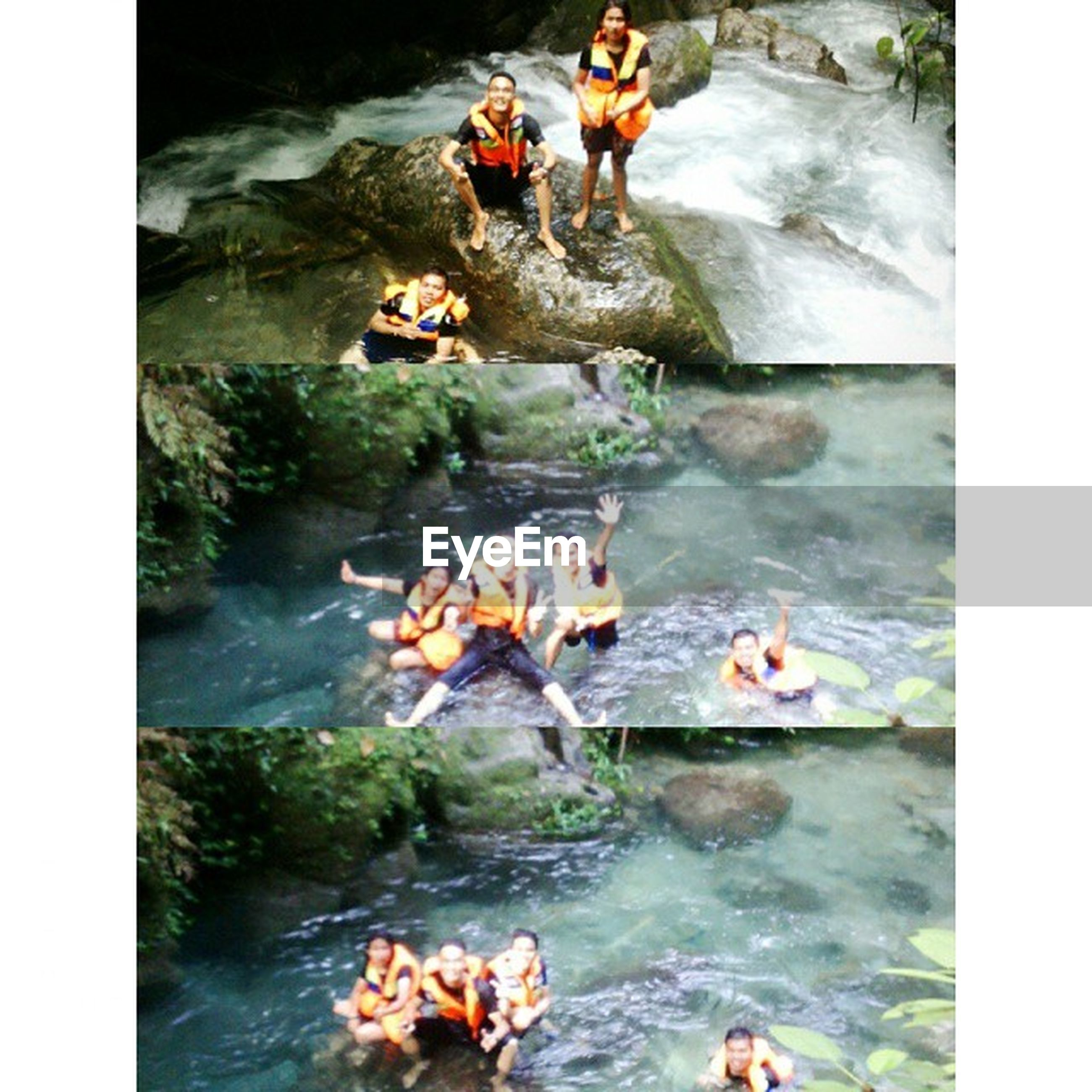 water, transfer print, auto post production filter, lifestyles, animal themes, leisure activity, high angle view, men, domestic animals, swimming, dog, togetherness, mammal, person, pets, waterfront, rock - object, day