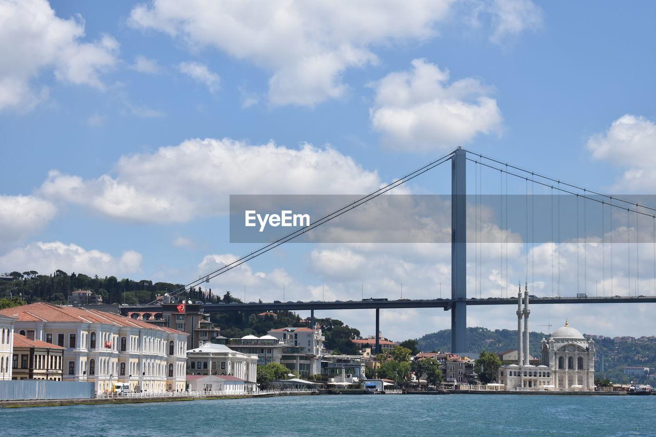 BRIDGE OVER SEA BY BUILDINGS AGAINST SKY
