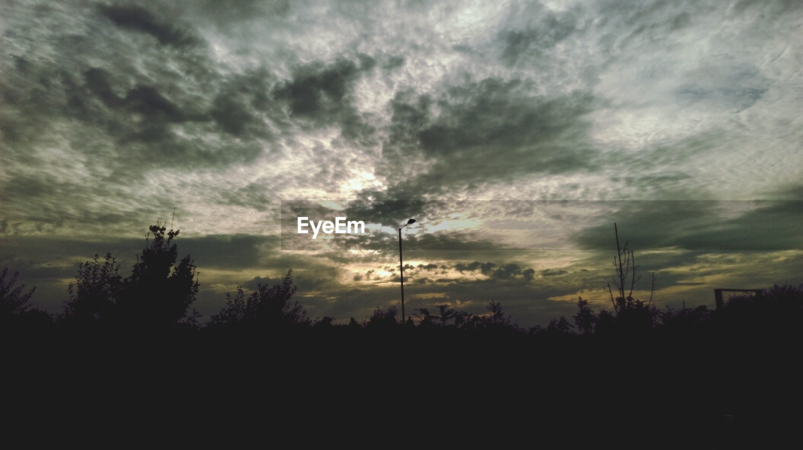 silhouette, sky, cloud - sky, cloudy, tree, tranquil scene, tranquility, scenics, beauty in nature, sunset, weather, nature, cloud, dusk, landscape, overcast, low angle view, dramatic sky, idyllic, dark