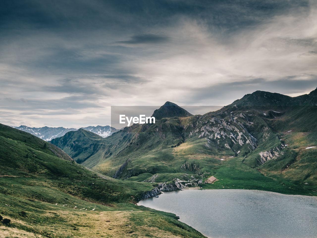 mountain, scenics - nature, sky, cloud - sky, beauty in nature, tranquil scene, mountain range, tranquility, water, environment, non-urban scene, landscape, nature, no people, day, lake, idyllic, valley, outdoors, mountain peak