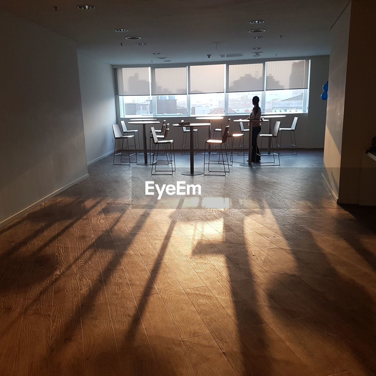 shadow, indoors, sunlight, real people, flooring, one person, window, standing, lifestyles, table, domestic room, adult, architecture, day, hardwood floor, full length, men, seat, office, wood, ceiling