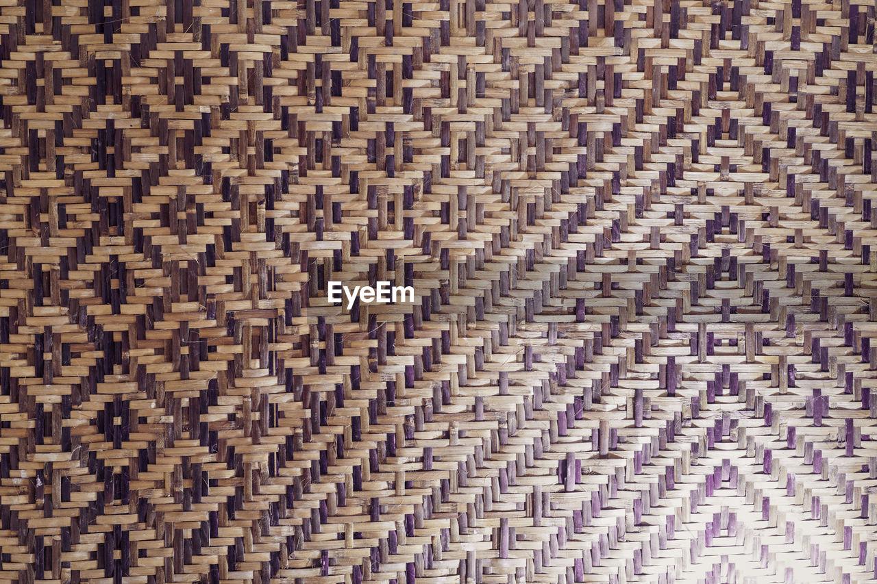Full frame shot of woven bamboo mat