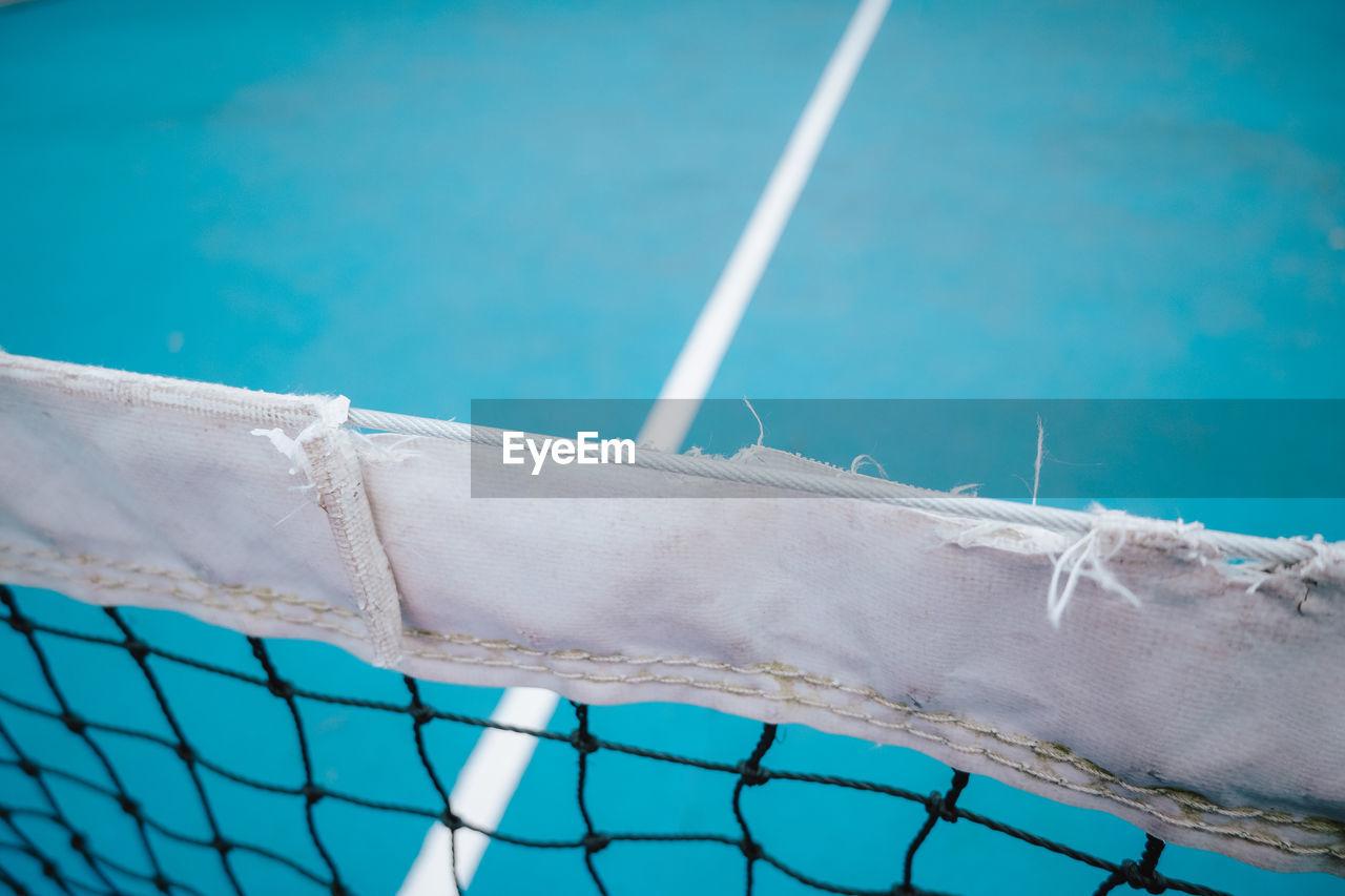 Close-up of tennis court net
