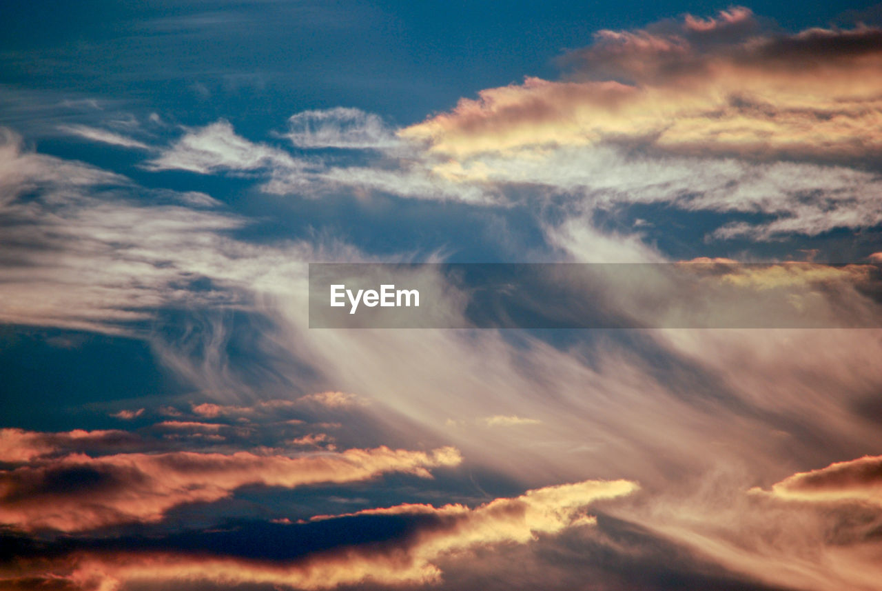 cloud - sky, sky, beauty in nature, scenics - nature, tranquility, tranquil scene, low angle view, sunset, no people, nature, backgrounds, idyllic, outdoors, dramatic sky, cloudscape, full frame, majestic, awe, orange color, meteorology
