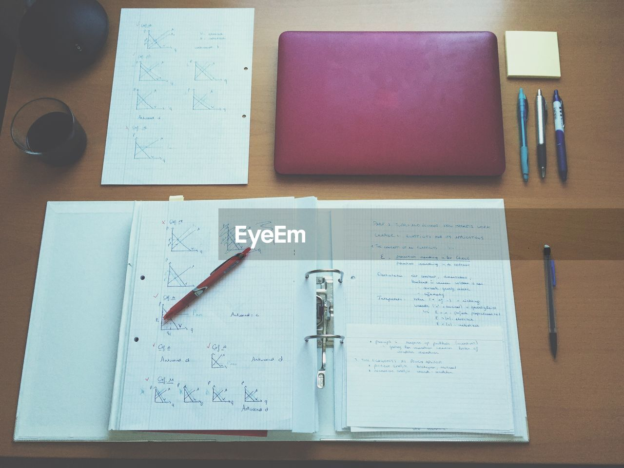 High angle view of file and laptop on table