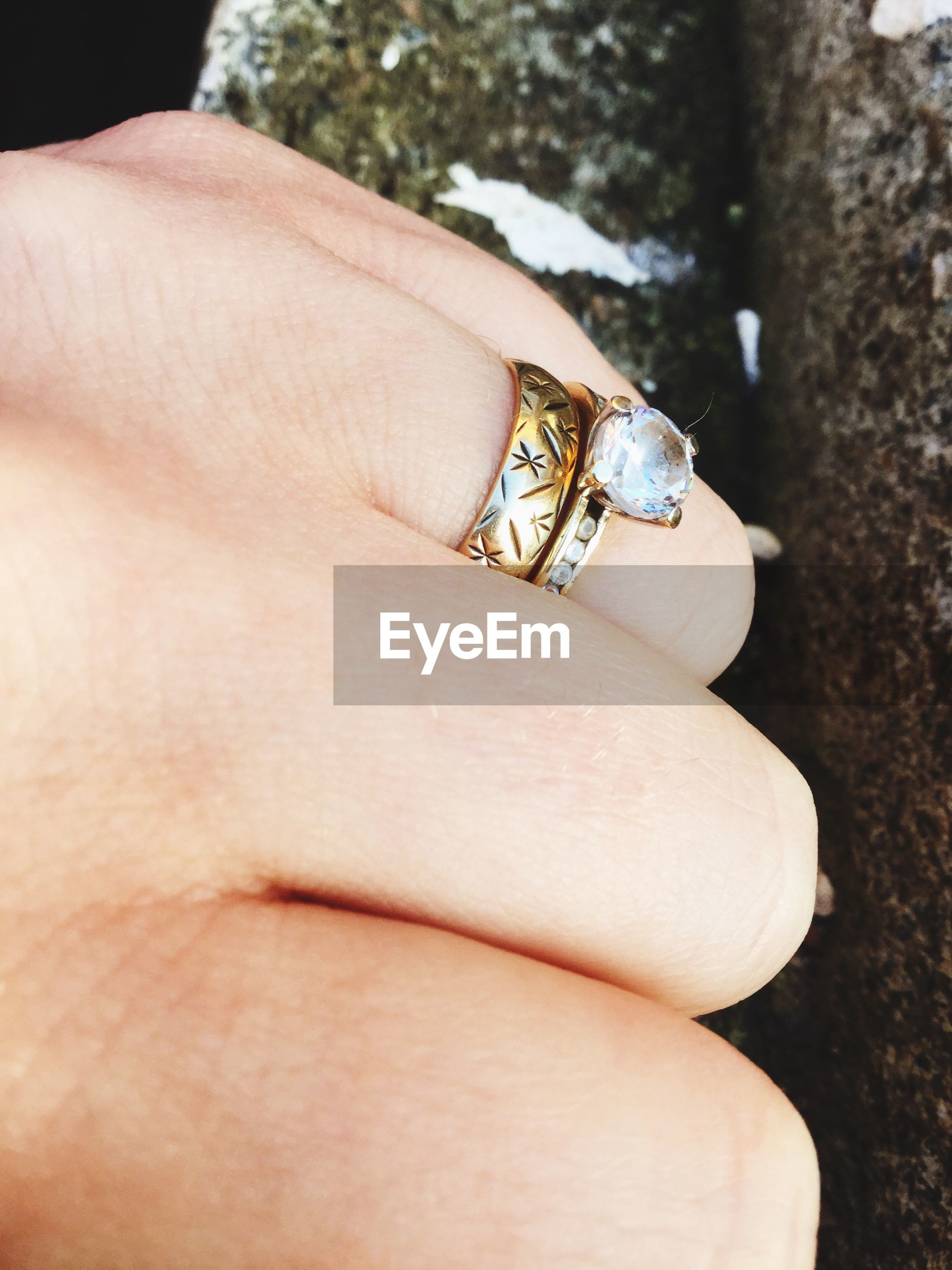 Cropped hand of woman with ring