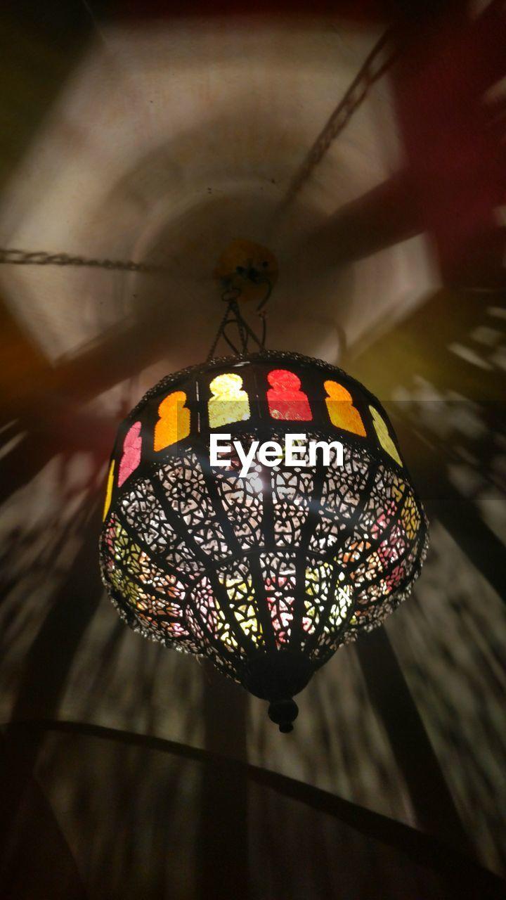 hanging, decoration, lighting equipment, lantern, celebration, indoors, paper lantern, illuminated, no people, low angle view, close-up, night