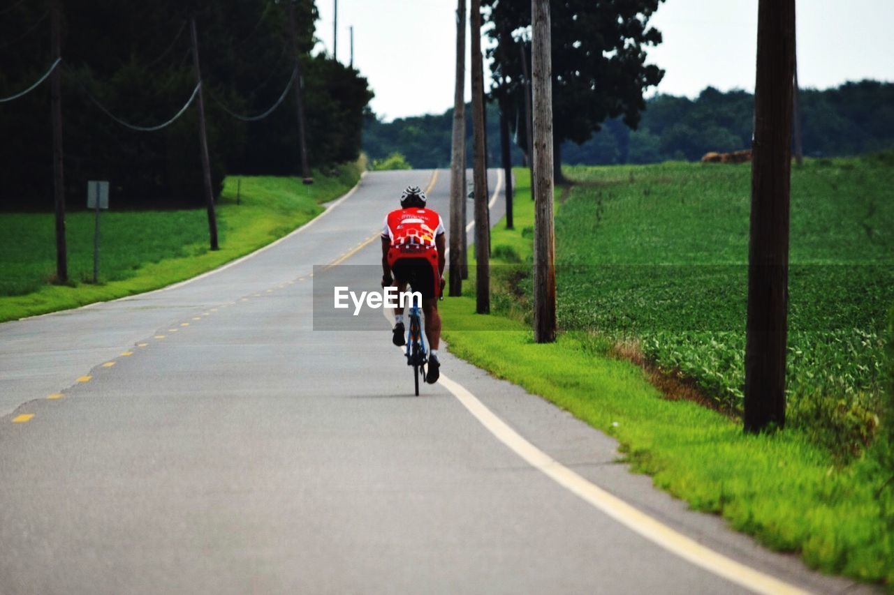 Rear View Of Person Riding Bicycle On Street Amidst Grassy Field